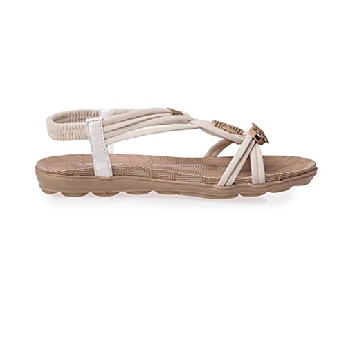 YOUJIA Beach Sandals Women Slingback Flat Sandal Beads Sandal Open Toe Shoes White aiVnW