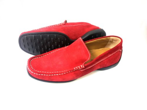 Pratik Albert mens loafer/best driving shoes, combination of quality leather and rubber sole, Red Suede Leather