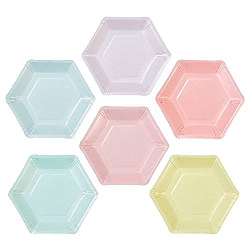 Talking Tables We Heart Pastel Small Multi Pastel Color Hexagonal Matte Paper Plates (6 Designs) for a Birthday Party or Celebration, Multicolor (24 - Talking Pastel