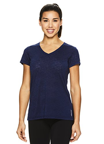 (HEAD Women's V Neck Short Sleeve Workout T Shirt - Performance Scoop Neck Activewear Top - Medieval Blue Prestige, Small)