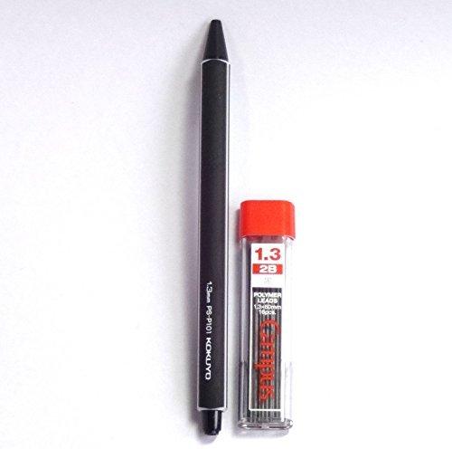 KOKUYO Enpitsu Mechanical Pencil, 1.3mm, Black (PS-P101D-1P) + Mechanical Pencil Lead, 1.3mm, 2B, 16 Leads (PSR-C2B13N) Set(Japan Import) [Komainu-Dou Original Package]