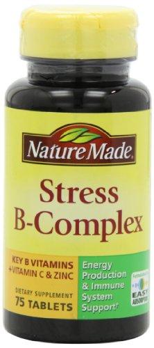 Complexe B Stress Nature Fabriqué avec comprimés de zinc, 75 Count