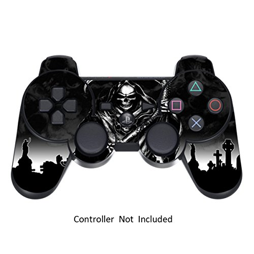 Skin Stickers for Playstation 3 Controller – Vinyl High Gloss Sticker for DualShock 3 Wireless Game PS3 Controllers – Protectors Controller Decal – Reaper Black [ Controller Not Included ] For Sale