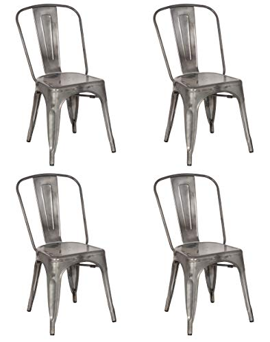 MILAN SC Inez Set of 4 Steel Side Chair, Gun Metal