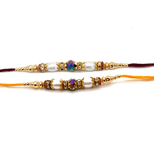 WhopperIndia Set of 3 Rudraksha Design Traditional Rakshabandhan Rakhee Bracelet Color and Design May Vary