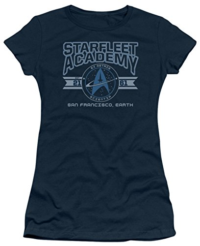 Star Trek Starfleet Academy Earth Short Sleeve Tee Juniors-Navy T-Shirt