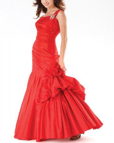 Party Abhol Vervollkommnen Charmante BRIDE Ein Kleid GEORGE Rot Schultergurt qYXnC