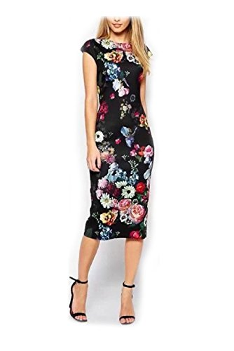 Gothic Dolly Wig (Herina Women Floral Print Pencil Dress, Slim Dress Casual Sleeveless Dress. (M))