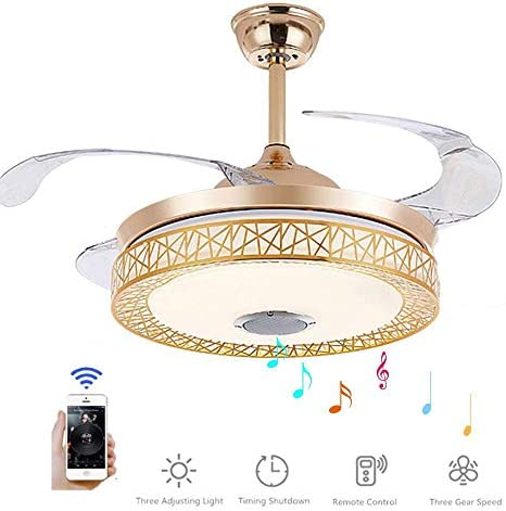 MoreChange 42 inch Bluetooth Ceiling Fan with Light and Remote Control, Retractable Chandelier Fans 3 color Dimmable and Music Play for Living Room Bedroom Dining Room
