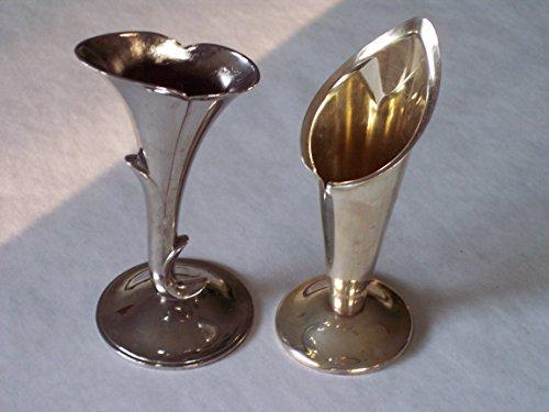 Silverplate Vase (FLOWER VASEs, set of 2, silver-plate, miniature trumpet shaped, art nouveau vintage antique decoration collectible)