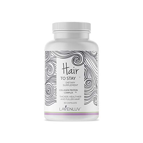 Lavenluv Hair to Stay Collagen Protein, Biotin and Vitamins Complex for Thicker, Healthier and Fuller Hair - Prevents Hair Loss, Treats Thinning, Dry and Brittle Hair - 60 Capsules