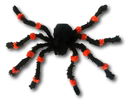 The Gothic Collection Black and Orange Furry Spider 26 Inches Long! - Poseable and Bendable Legs - -