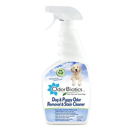 OdorBiotics Pet Stain & Odor Remover for Dogs & Puppies, Eliminates Urine Smell and Carpet Odors in Seconds, For Carpets, Upholstery & Fabric Stains, and Beds, Non-toxic, Safe, 32 oz Spray