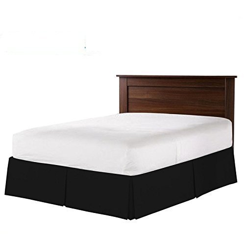 - Evoke's Real Regular Fabric Split Corner Bed Skirt/Dust Ruffle/Valance Egyptian Cotton Hotel Quality Durable. (Black, Olympic Queen Bed-Skirt 16