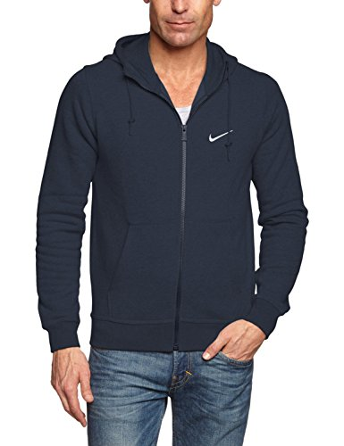 Nike Men's Club Swoosh Full Zip Fleece Hoody, Dark Obsidian, M (Italian Zip Hoodie)