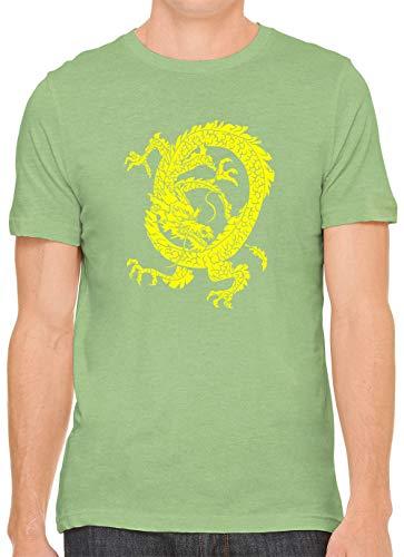 Yellow Sharp Talon Dragon Unisex Premium Crewneck Printed T-Shirt Tee, Leaf L (Wispy Leaf)