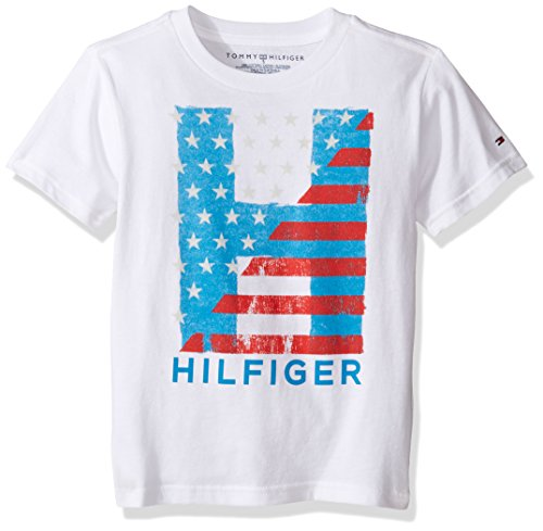 Tommy Hilfiger Denim Men's Little Boys' Short Sleeve Crew Neck Flag Graphic T-Shirt, White, - Sale Tommy Kids