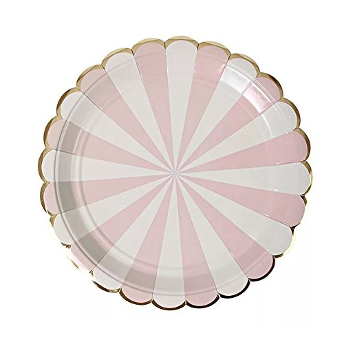 SHZONS Party Supply Pack Paper Plates Cups Napkins for Parties Wedding Baby Shower (A: 7inch Paper Plate)