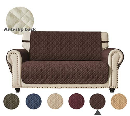 Ameritex Loveseat Cover Water-Resistant Quilted Furniture Protector with Back Nonslip Paws Slipcover for Dogs, Kids, Pets Loveseat Slipcover Stay in Place for Leather (Pattern1:Chocolate, Loveseat)