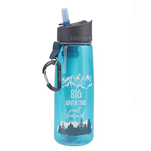 LifeStraw Go Water Filter Bottle with 2-Stage Integrated Filter Straw for Hiking, Backpacking, and Travel, Big Adventure (Special Edition)