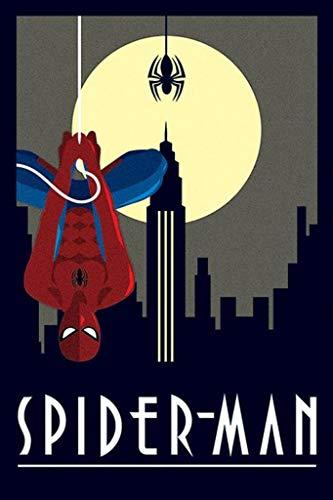 (Pyramid International Marvel Deco Spiderman Hanging Spider Man Art Deco Poster 24x36 inch)