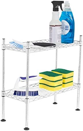 Internet s Best 2-Tier Mini Wire Utility Shelving Chrome Shelf Adjustable Rack Unit Kitchen Bathroom Pantry Laundry Storage Under The Sink Organization Organize Your Cabinets