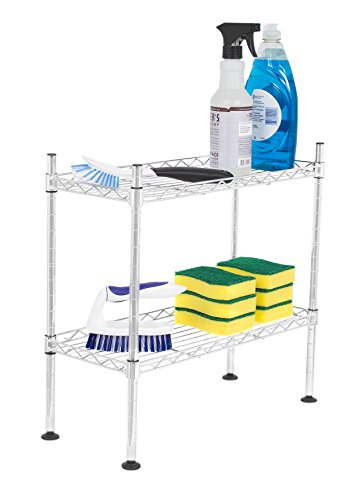 Internet's Best 2-Tier Mini Wire Utility Shelving | Chrome | Shelf | Adjustable Rack Unit | Kitchen Bathroom Pantry Laundry Storage | Under the Sink Organization | Organize your Cabinets by Internet's Best