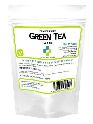 Lindens Green Tea 100 Tablets 1000mg Quality Standardised Extract (Diet) by Linden's