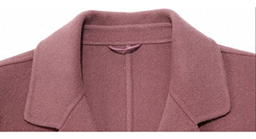 Sheng Xi Womens belt Outwear Topcoat Lapel Pure Color Pea Coat Pink 3XL by Sheng XiWomen (Image #3)