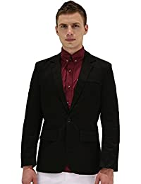 uxcell Men Notched Lapel Center-Vent Back One-Button Blazer
