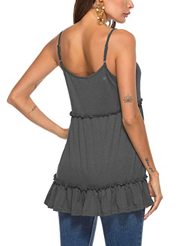 Womens Summer Tunic Tank Tops Casual Sleeveless Shirts Cami Blouses Dark Grey M