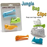 bee-zoo Jungle bag clips - New modern design of colorful plastic kitchen seal clipset for closing a bag of bread, snack or chips - different sizes -easy storage & fully reusable