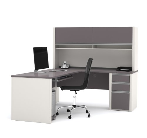 Bestar Office Space Corner - Bestar Connexion L-Shaped with Hutch Workstation Kit, Slate/Sandstone