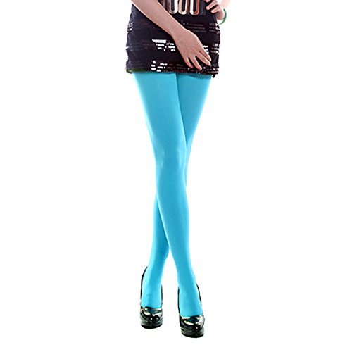 ece3a2715da93 HDE Women's Sexy Solid Color Pantyhose Opaque Footed Tights Stockings - 3  Pair (Blue,