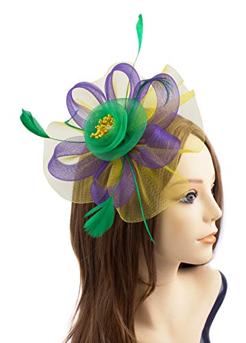 JAWEAVER Fascinator Hat Feather Party Pillbox Hats Cocktail Kentucky Derby Headband with Clip for Women (C Mardi Gras) ()