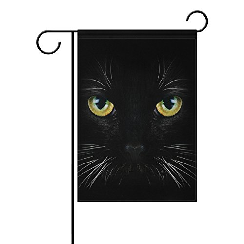ALAZA Yard Flag Home Decor 12x18 Inch,Black Cat Double-Sided
