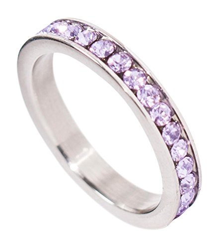 - Birthstone Eternity Ring~June~Stainless Steel~Cubic Zirconia CZ Band~Alexanderite~Lavender Crystals~Stackable~Mother's Ring~Children's Ring~Women's Jewelry (11)