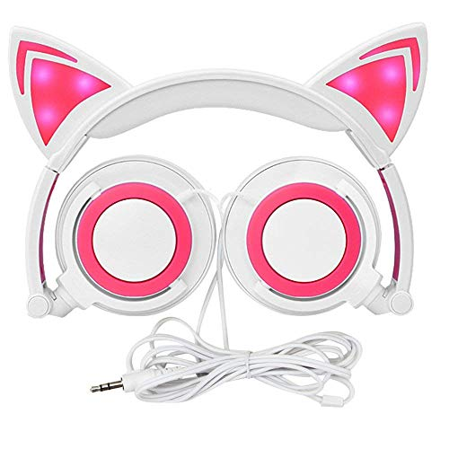 Wired Headphones Over-Ear Foldable Cat Ear Earphones with LED Light for Girls,Children.Compatible for Mp3 Mp4 Player,iPhone 6S,Android Phone. (whitepink)