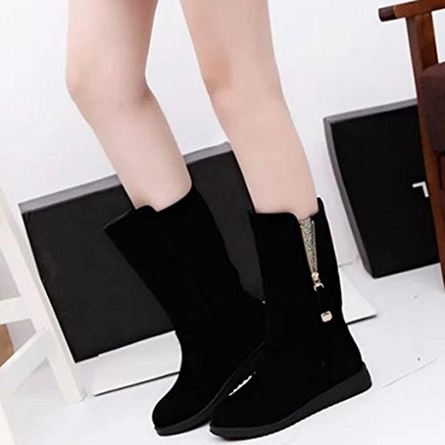 Inkach Women Mid Calf Boots Winter Snow Martin Boots Round Toe Flat Ankle Shoes Side Zipper Black RdOQVulV
