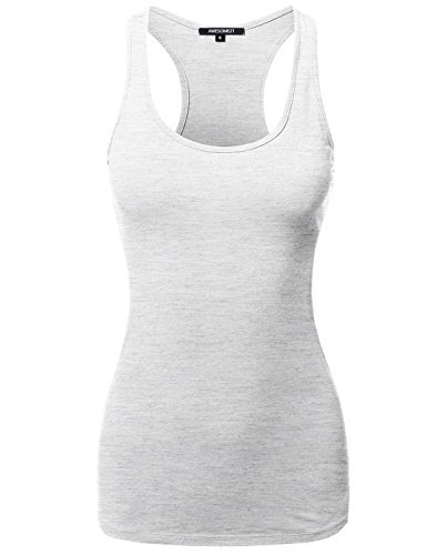 (Awesome21 Solid Basic Sleeveless Racer-Back Cotton Based Tank Top Oatmeal Size L)