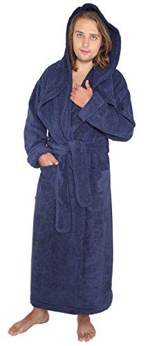 Arus Men's Monk Robe Style Full Length Long Hooded Turkish Terry Cloth Bathrobe, XX-Large, Navy Marine -
