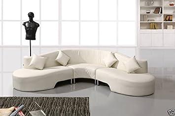 90 Design Voll Leder Ecksofa Sofa Garnitur Rundecke Rundledersofa