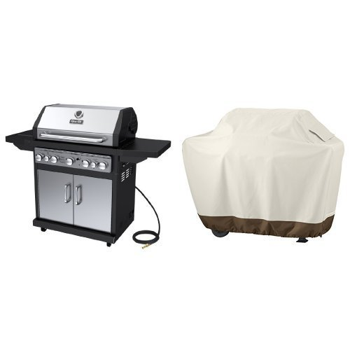 Dyna-Glo Black & Stainless Premium Grills, 5 Burner, Natural Gas & AmazonBasics Grill Cover - Large (Dyna Glo Gas Grill Cover)