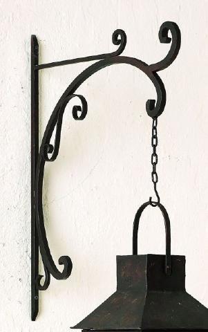 (Black Iron Scroll Hanging Bracket | Wall Mounted Hook Hanger Outdoor)