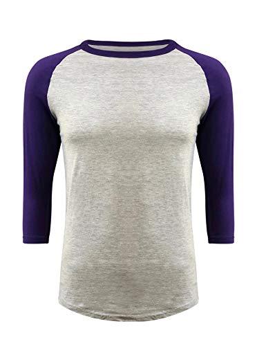 ILTEX Raglan Tshirt 3/4 Sleeve Athletic Baseball Jersey Unisex (Gray/Purple, 3X-Large)