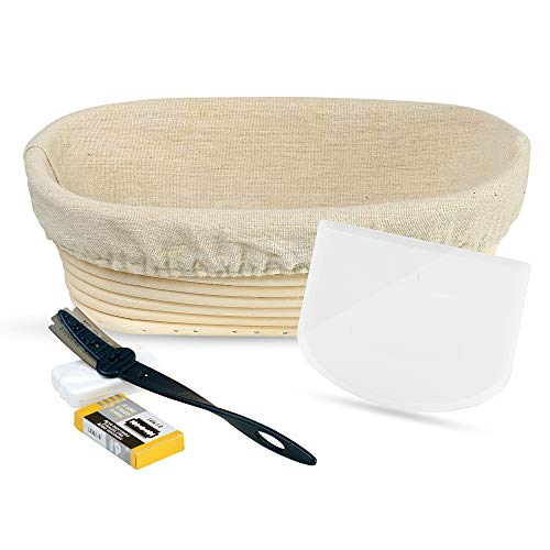 Bread Basket Replacement Liner - 5-Piece Bread Baking Tools Set – Oval Banneton Rattan Proofing Bread Basket 9 Inch with Cotton Liner; Bread Scoring Lame, 10-Pack Replacement Blades, and Flexible Food Grade Bowl Scraper