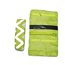 Jewelry Organizer Roll Up Bag Red Lime Green