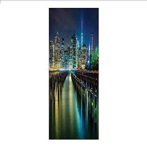 3D Decorative Film Privacy Window Film No Glue, York,Pier Pilings and Manhattan Skyline at Night Downtown Urban East River,Dark Blue Green Yellow,for Home&Office