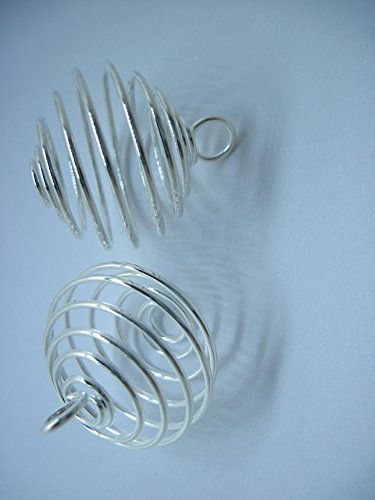 Spiral Bead Cages Pendants Findings 35mm Pack of 20PCS (35mm Dia., Silver Color) (Tumbled Stone Pendant Cage)