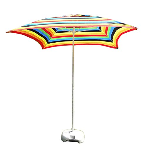 Umbrellas 6.6'/2M Square Outdoor Patio Parasol Garden Table, for Outdoor Yard, Beach Commercial Event Market, Swimming Pool Side, Stripes (Color : Rainbow Color)